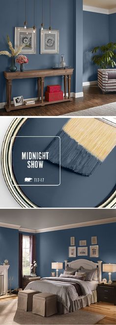Fall in love with BEHR's color of the month: Midnight Show. This deep, moody blue can be used in a variety of spaces throughout your home. Try pairing it with bright white accents or lightly-colored, neutral furniture to compliment the dark undertones in this gorgeous color. Click here to find more inspiring ways that you can use this stylish shade.