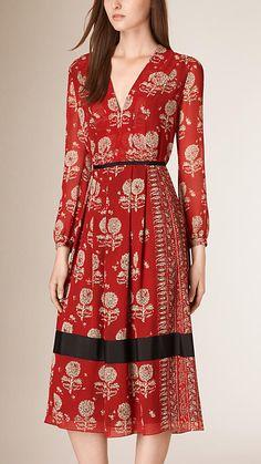 Vermelho militar Vestido evasê de seda com estampa floral - Imagem 1