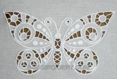 cutwork embroidery | Butterfly cutwork lace machine embroidery - detailed image