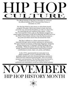 November is Hip Hop History Month, 2014