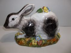 Vintage Italian Majolica Pottery RABBIT Tureen MEISELMAN Imports
