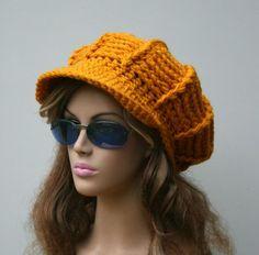 Choose from many colors Custom Visor hat slouchy beanie Newsboy cap crochet handmade