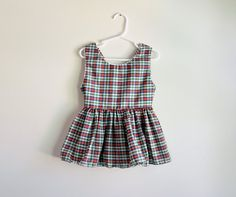 Vintage 1980s red and blue plaid pinafore dress with matching bloomers