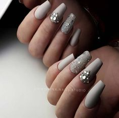 Nail Art Ideas For Coffin Nails - Earth Bling - Easy, Step-By-Step Design For Coffin Nails, Including Grey, Matte Black, And Great Bling For Instagram Ideas. Includes Everything From Kylie Jenner Ideas To Nailart For Short Nails, Long Nails, And Beautiful Shape And Colour Like Pink. Polish For Jade, Glitter, And Even Negative Space - https://thegoddess.com/nail-ideas-coffin-nails