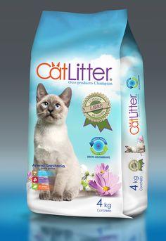 Diseño para la compañía Champion S.A. Envase para arena de gatos Catlitter.