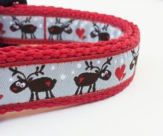 Oh Deer its almost Christmas  Dog Collar by StinkyandSweetPea