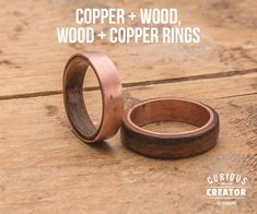 Copper + Wood Rings : 6 Steps (with Pictures) - Instructables Copper Rings, Wood Rings, Copper Jewelry, Leather Jewelry, Wire Jewelry, Hipster Rings, Copper Wood, Wood Wood, Steampunk Rings