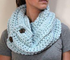 Wrap Light Blue Chunky Crochet Scarf Acrylic by KnottyMonkey, $39.00
