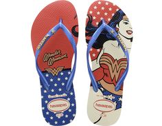 <p>The Slim Wonder Woman offers the ultimate expression of girl power with bold prints inspired by the iconic super hero on our signature textured footbed. A star embellishment and contrast Havaianas logo appear on the strap.</p><ul><li>Thong style</li><li>Cushioned footbed with textured rice pattern and rubber flip flop sole</li><li>Made in Brazil</li></ul>
