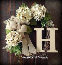 Wreath with initial, Winter door wreath, burlap wreath, wreath, Spring wreath, Farmhouse wreath, hydrangea wreath, All season wreath, wreath #frontdoor #wreath #giftideas #farmhouse #rustic #homedecor #diy #affiliate