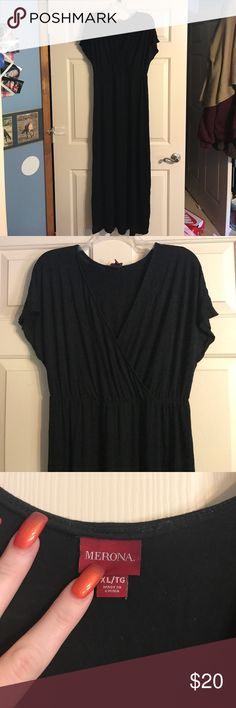 Long black maxi dress Super soft and comfortable black maxi dress with like captain short sleeves, v neck, and is elastic natural waist right under breast area, flowy and so soft, also does come with a black little type belt Merona Dresses Maxi