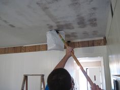 So clever!  Getting rid of popcorn ceiling.. This is next weekend's project.
