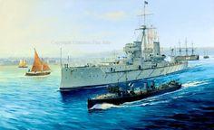 HMS Dreadnought en el puerto de Portsmouth. El navío de tres puentes que aparece al fondo es el HMS Victory, sin embargo identificar el torpedero/destructor que aparece en primer plano es otro cantar, aunque apuesto por un clase Conflict. Randall Wilson. Más en www.elgrancapitan.org/foro