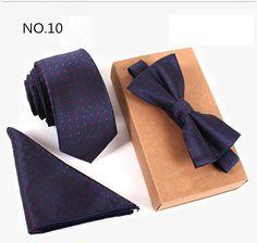 GUSLESON 3PCS Slim Tie Set Men Bow Tie and Handkerchief Bowtie Necktie Cravate Homme Noeud Papillon Man Corbatas Hombre Pajarita