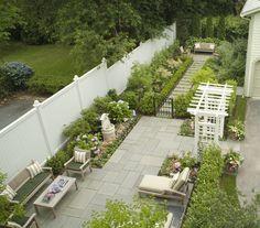 Kate Field Garden Designer, Newport, RI  took a TEENY narrow suburban plot of land and made 3 garden rooms!