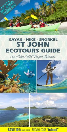 A great way to discover St John ...kayak, hike and snorkeling in the Virgin Islands National Park!!!!