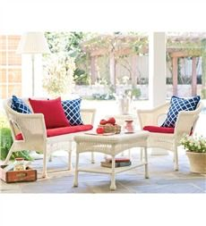 All-Weather Resin Outdoor Easy Care Wicker Seating And Table Set