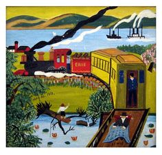 Early painting by Nova Scotia folk artist Maud Lewis depicting the Erie Train… Art And Illustration, Maudie Lewis, Naive Art, Canadian Artists, Easy Paintings, Outsider Art, Teaching Art, Artist Art, Art Lessons