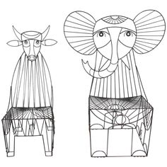 Rare John Risley Figural Cow and Elephant Chairs | From a unique collection of antique and modern chairs at https://www.1stdibs.com/furniture/seating/chairs/