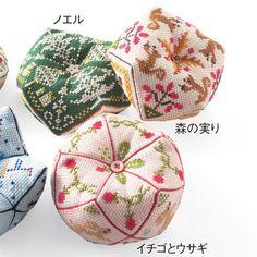 キュートな形のピンクッション めぐる季節を楽しむクロスステッチ・ビスコーニュの会(12回限定コレクション) | フェリシモ