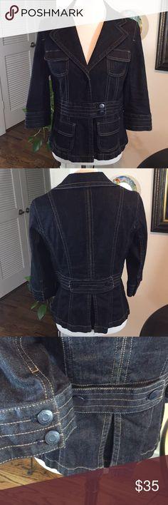 "Ann Taylor Dark Denim Fitted Jean Jacket Ann Taylor Dark Denim Fitted Jean Jacket- Size 8 Bust 19"" Length 22"" Waist 16"" Great condition Ann Taylor Jackets & Coats Jean Jackets"