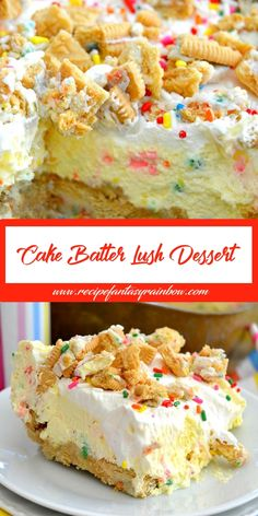This Batter Lush Dessert Arlene des in 2019 Desserts, Dessert recipes, Cake batter is a good for our dinner made with wholesome ingr. No Bake Desserts, Just Desserts, Delicious Desserts, Yummy Food, Desserts For Summer, Cake Mix Desserts, Sweet Recipes, Cake Recipes, Dessert Recipes