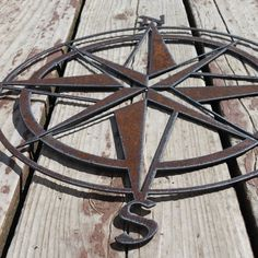 Rustic Nautical Compass Recycled metal art 18 inch by fttdesign