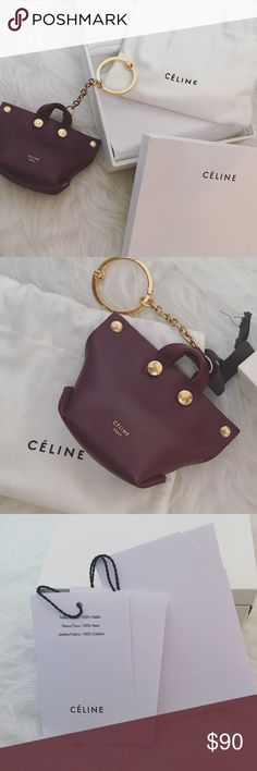 With Tags Celine Burgundy Keyring bag Charm New with Tags Authentic Celine Orb Keyring Color: Burgundy perfect and unique accessory by Celine that adds a classic touch to your bag made of 100% calfskin. Made in Italy Goldtone hardware. Snap closure. Makes a great gift idea. Comes with authenticity care card, tags, Celine dust bag, and box. *I do my best to check items throughly but if you see something I missed please let me know. I strive to give a great shopping experience. Smoke free home…