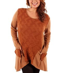 Take a look at this Copper Abstract Sidetail Tunic - Plus on zulily today!