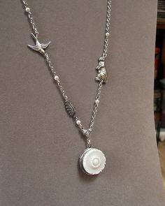 Silver Bunny Rabbit Locket Necklace  Vintage Glass by envisage, $32.00