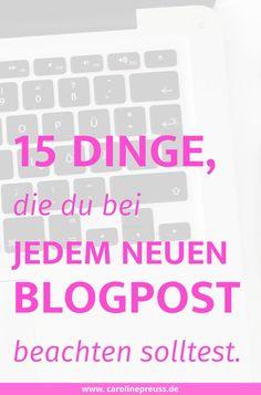 """Blogging Tipps: 15 Dinge, die du bei jedem neuen Blogpost beachten solltest.  Seitdem ich meinen Blog auf WordPress relauncht habe und er weit mehr als """"nur"""" ein Hobby ist, versuche ich, eine grundlegende Routine in jeden Blogpost einzubauen. Dazu zählen die Dinge, die ich vor und während des Schreibens mache. Nach der Veröffentlichung eines jeden Blogposts gehe ich nochmal eine zweite Routine durch, um meinen Blogpost bekannt zu machen und in den Sozialen Netzwerken zu streuen."""