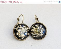 ON SALE Real Flower EarringsDried Flowers by emmagemshop on Etsy, $17.99