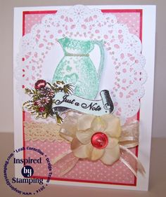 Inspired By Stamping, Vintage Pieces, handmade card, shabby chic, flowers, lace,Leah Cornelius Paper Blossoms