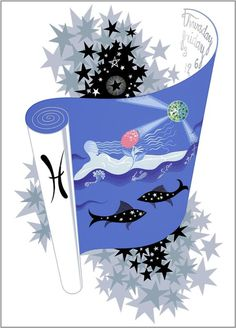 The Zodiac, Pisces  Artist: Erte