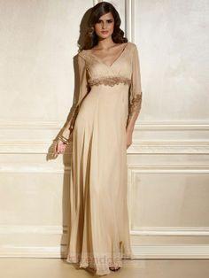 Young A-line V-neck Floor-length Chiffon Beading Gold Mother of the Bride Dresses - $158.99 - Trendget.com