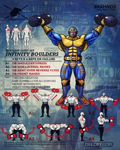 shoulder workout: infinity boulders thanos top tricks on losing weight Workout Schedule, Workout Challenge, Fun Workouts, At Home Workouts, Superhero Workout, Academia Fitness, Workout Posters, Workout Dvds, Bodybuilding Workouts