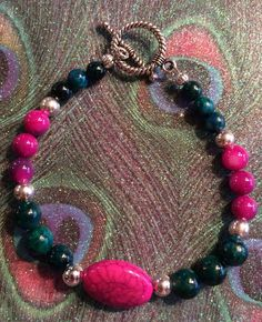 Rich Colors  Purple Green and Blue with Silver by DungleBees, $24.99