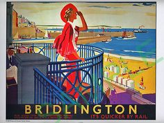 Poster produced for London and North Eastern Railway (LNER) to promote rail travel to the popular Yorkshire seaside Print Framed, Poster, Canvas Prints, Puzzles, Photo Gifts and Wall Art. Ships from UK Seaside Beach, Seaside Resort, South Beach, Seaside Towns, National Railway Museum, A4 Poster, Poster Maker, Poster Wall, Fine Art Prints