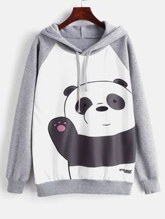 Raglan Sleeve Panda Graphic Fleece Lined Hoodie - Multi S - zaful Cute Lazy Outfits, Girl Outfits, Casual Outfits, Fashion Outfits, Fashion Ideas, Trendy Hoodies, Cute Sweatshirts, Hooded Sweatshirts, Panda Outfit