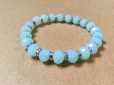 Baby Blue Czech glass bracelet by NanabojoDesigns on Etsy