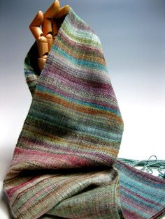 Handwoven Silk and Wool Scarf: Day 99 by mmhandwovens on Etsy