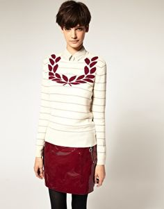 Laurel Wreath Collection By Richard Nicoll Cashmere and Wool Intarsia Sweater