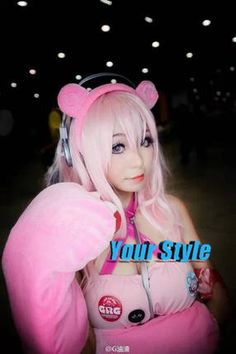 Super Sonico Cosplay Wig Long Straight  Hair Wigs Ombre Pink to Silvery Color Synthetic  Peruc Perruque Natural Hair