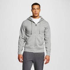 Men's Fleece Full Zip Hoodies Stone (Grey) Gray Heather Stone Gray 2XL - C9 Champion, Size: Xxl