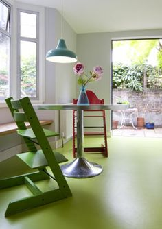 This apple green vinyl flooring comes from a new company called The Coloured Flooring Company, which has filled a gap in the market - for bright, cheery, affordable lino without the usual nasty marble effects. Modern Flooring, Grey Flooring, Bedroom Flooring, Linoleum Flooring, Stone Flooring, Concrete Floors, Vinyl Flooring, Penny Flooring, Ceramic Flooring