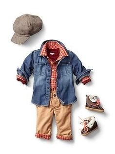 A denim shirt is a nice, less bulky jacket alternative for baby. And I love those boots! Little Boy Outfits, Little Boy Fashion, Baby Boy Fashion, Toddler Fashion, Baby Boy Outfits, Little Boys, Kids Fashion, Fashion Moda, Look Fashion