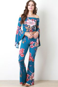 Floral Bell Bottom Pants