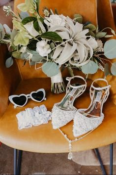 Rustic wedding accessories - heart shaped glasses, white, flowers, bouquet, lace shoes {Courtney Serra}