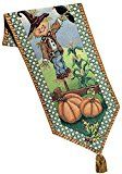 """Manual Scarecrow Fall Pumpkin Autumn Leaves Woven Tapestry Tablerunner USC72 13x72"""" Multi"""