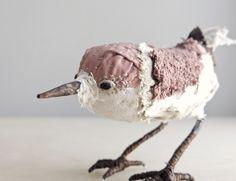 Little bird in pink / soft sculpture bird